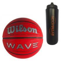 Kit Bola de Basquete Wave Phenom 7 Wilson Vermelho/Preto + Squeeze Automático 1lt - Rythmoon
