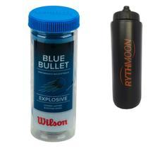 Kit Bola de Frescobol Wilson Blue Bullet + Squeeze Automático 1lt - Rythmoon