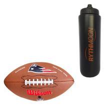 Kit Bola de Futebol Americano Pro Wilson N.E. Patriots + Squeeze Automático 1lt - Rythmoon