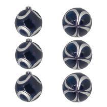 Kit Bola de Natal Azul e Prata Gliter 8cm - 6 Unidades - Extra Festas