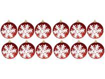 Kit Bola de Natal Vermelha e Branca com Glitter - NATAL051M Casambiente 7cm 12 Unidades