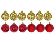 Kit Bola de Natal Vermelha e Dourada Mista - NATAL069 Casambiente 6cm 12 Unidades