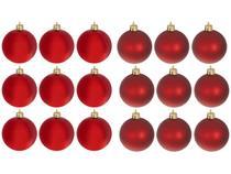 Kit Bola de Natal Vermelha Lisa NATAL034M - Casambiente 7cm 18 Unidades