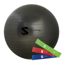 Kit bola de pilates (suíça) 65cm - grafite  + 3 mini bands - S\Pro