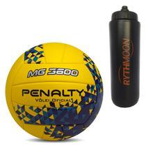 790f76123597c Kit Bola de Vôlei MG 3600 Fusion VIII Penalty Amarelo Azul + Squeeze  Automático 1lt