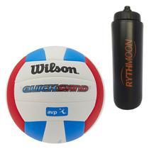 Kit Bola de Vôlei Quicksand Wilson Vermelho/Azul + Squeeze Automático 1lt - Rythmoon
