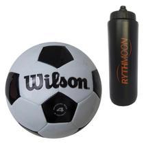 Kit Bola Futebol Tradicional No. 4 Oficial - Wilson + Squeeze Automático 1lt - Rythmoon