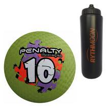 Kit Bola Iniciação de Borracha T10 Penalty Verde + Squeeze Automático 1lt - Rythmoon