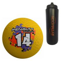 Kit Bola Iniciação de Borracha T14 Penalty Amarela + Squeeze Automático 1lt - Rythmoon