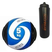 Kit Bola Medicine Ball Com Pegadas O'NEAL 05kg + Squeeze Automático 1lt - Rythmoon