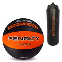 Kit Bola Medicine Ball de Borracha Penalty VI 4KG Laranja/preta + Squeeze Automático 1lt - Rythmoon