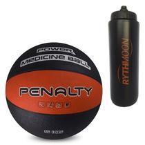 Kit Bola Medicine Ball de Borracha Penalty VI 5KG Vermelho/Preta + Squeeze Automático 1lt - Rythmoon