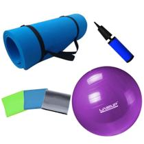 Kit Bola Pilates 55cm Roxa + Colchonete Eva + Kit 3 Faixas Elasticas + Bomba  Mandiali -