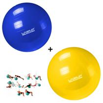 Kit Bola Pilates 65 Cm Azul + Bola 75 Cm Amarela  Liveup -