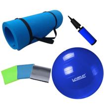 Kit Bola Pilates 65cm + Colchonete Eva + Kit 3 Faixas Elasticas + Bomba  Mandiali -