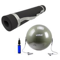 Kit Bola Pilates 65cm com Extensores + Colchonete Eva 1,70 Preto  Liveup -