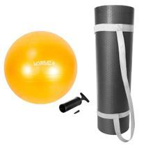 Kit Bola Pilates 75cm + Colchonete Eva 1,70 Mts com Alca Preto  Liveup -