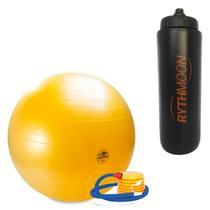 Kit Bola Pilates GymBall + Bomba - Mormaii 65cm + Squeeze Automático 1lt - Rythmoon