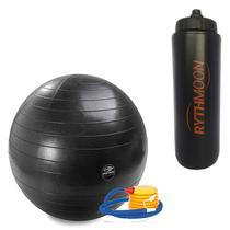 Kit Bola Pilates GymBall + Bomba - Mormaii 75cm + Squeeze Automático 1lt - Rythmoon