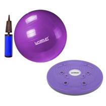 Kit Bola Suica 55 Cm + Bomba + Disco Magnetic Trimmer 25cm Yoga e Pilates  Liveup -