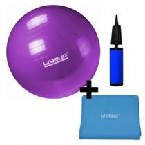 Kit Bola Suica 55cm com Mini Bomba + Faixa Elastica Tensao Forte Azul Liveup -