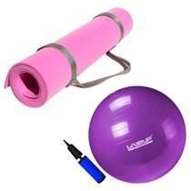 Kit Bola Suica 55cm Roxa + Colchonete Eva Rosa Yoga e Pilates + Bomba  Mandiali -