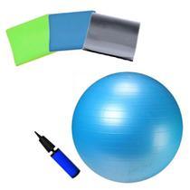 Kit Bola Suica 65 Cm com Bomba + Kit 3 Faixas Elasticas  Liveup -