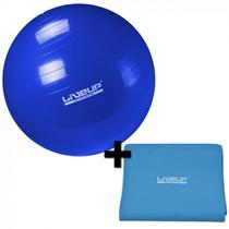 Kit Bola Suica 65 Cm + Faixa Elastica Intensidade Forte Azul  Liveup -