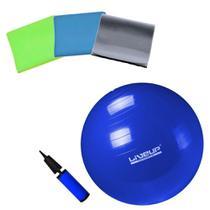Kit Bola Suica 65 Cm Pilates Yoga + Kit 3 Faixas Elasticas + Bomba  Liveup -