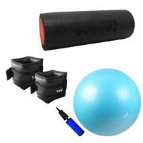 Kit Bola Suica 65cm + Bomba + Rolo Pilates Medio + Par de Caneleiras 2kg  Liveup -