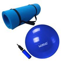 Kit Bola Suica 65cm com Bomba + Colchonete Eva Pilates Yoga Azul  Mandiali -
