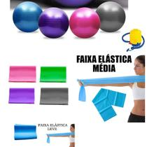 Kit Bola Suiça 65cm Com Faixa Elastica Pilates Fisioterapia - Fitness