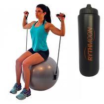 Kit Bola Suíça Para Pilates 65 Cm Com Extensores - Liv  Cinza + Squeeze Automático 1lt - Rythmoon