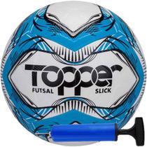 Kit Bola Topper Slick Futsal Tech Fusion Impermeável + Bomba -