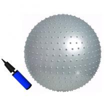 Kit Bola Yogine 65 Cm Massagem Ball Fitball Liveup Pilates + Bomba -