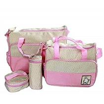 Kit bolsa de bebe maternidade com trocador porta mamadeira e papinha 5 peças luxo impermeavel menina rosa kangur -