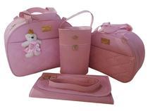 kit bolsa de bebe saída de maternidade redonda rosa menina 4pçs - Clara Baby