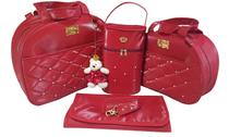 kit bolsa de bebe saída de maternidade redonda vermelha menina 4pçs - Clara baby