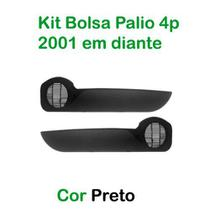 Kit Bolsa de Porta Fiat Palio 4 Portas 2001 em diante Cor Preto - Grampola