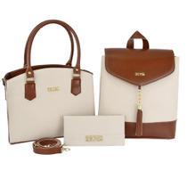 Kit Bolsa Feminina Handbag Com Mochila E Carteira Moderna - Selten
