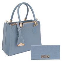 Kit Bolsa Feminina Tote Brilho Lorena + Carteira Selten Azul Claro -