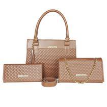 Kit Bolsa Handbag Com Flap e Carteira Borzzi Wear Matelasse -