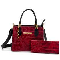 Kit Bolsa Lorena Pequena em croco vermelho e carteira - Agatha Lorena