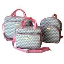 kit Bolsa Mala Maternidade menino 3 peças com mochila Rosa - Rubi Baby