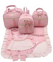 Kit bolsa maternidade 3 peças laço rosa + saida maternidade - Let Baby Bolsas De Maternidade