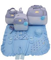 Kit bolsa maternidade 3 peças luxo azul + saida maternidade - LET BABY BOLSAS DE MATERNIDADE