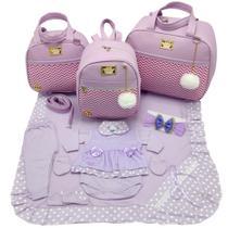 Kit bolsa maternidade 3 peças luxo lilas + saida maternidade body lilas - LET BABY BOLSAS DE MATERNIDADE