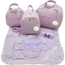 Kit bolsa maternidade 3 peças luxo lilas + saida maternidade - Let Baby Bolsas De Maternidade