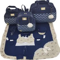 Kit bolsa maternidade 3 peças luxo marinho + saida maternidade - Let Baby Bolsas De Maternidade