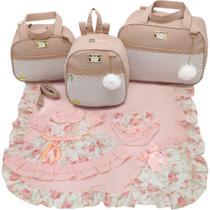 Kit bolsa maternidade 3 peças luxo nude + saida maternidade - LET BABY BOLSAS DE MATERNIDADE